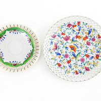 Set of 3 Vintage Plates / Floral and Gold China / Glamorous Hollywood Regency / Pink, Green / Decorative Dishes / Jewelry Tray