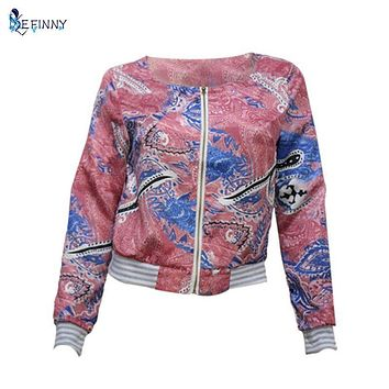 Vintage Fashion Women Ladies Casual Slim Floral Suit Blazer Jacket Coat Outwear