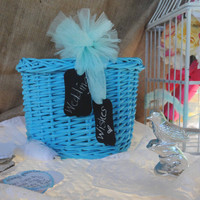Wedding Basket, Alternative Guest Book, Advice Bride and Groom, Chalkboard Tags, Blue Basket, Tulle Bow, Keepsake Gift Idea, Reception Decor