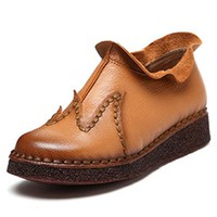 Retro Handmade Ankle Stitching Flat Leather Boots