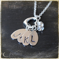 Heart with Initial Tags Monogram Family Mother Grandmother Necklace by rubiesandwhimsy