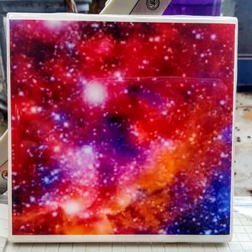 Single Tile Drink Coaster The Universe Galaxy Space Purple Pink Orange Star Coaster
