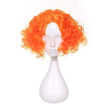 Cool Alice in Wonderland 2 Mad Hatter Tarrant Hightopp Orange Wig Cosplay Short Curly Synthetic Hair Role Play Halloween + Wig CapAT_93_12