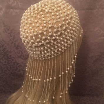 1920s style FULLY Beaded WHITE ivory Fringe FLAPPER Head cap skull headpiece Gatsby Roaring Twenties Art Deco Bead Tassel Headwear Headdress