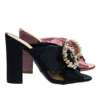 Encounter92 Satin Baroque Block Heel Mule Sandal w Embellished Crystal & Pearl
