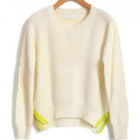 White Knit Jumper with Cable Knit Sleeves and Contrast Vent Hem