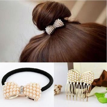 1pc Top Selling Cute Bowknot Elastic Hair Bands For Women Scrunchy Leather headbands For Hair Jewelry