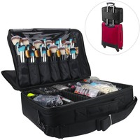 MLMSY Makeup Train Case 3 Layer Cosmetic Organizer Beauty Artist Storage Brush Box with Shoulder Strap(L-Black)