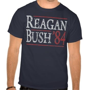 Ronald Reagan Bush 84 Retro Election t shirt
