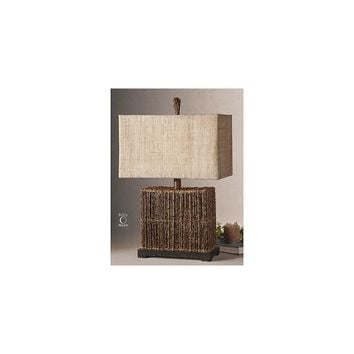 Uttermost Woven Rattan Barbuda 27'' H Table Lamp with Rectangular Shade