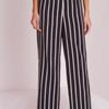 Missguided - Striped Wide Leg Pants Black