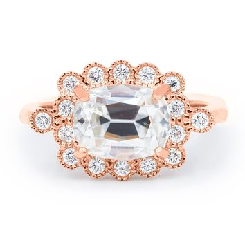 9x7mm East to West Antique Cushion Old Mine Cut (OMC) Moissanite 14K Rose Gold Milgrain Diamond Accent Ring