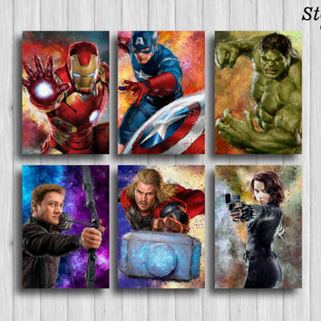 avengers poster set of 6: iron man captain america hulk black widow thor hawkeye superhero