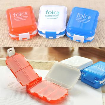 2017 Useful Portable Multilayer 8 Compartment Moistureproof Pill Case Medicine Organizer Holder Tablet Container Pill Box A676