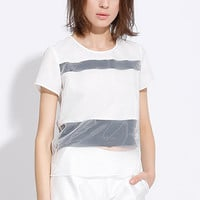 White Organza Black Panel T-Shirt