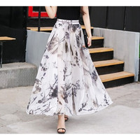 Chiffon Printing Fashion Long Skirt LAVELIQ