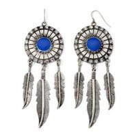 Decree® Blue Stone Silver-Tone Dreamcatcher Earrings