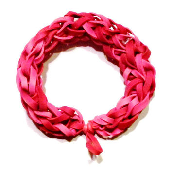 Red and Pink Rubber Band Bracelet - Valentines Day Presents - Great Party Favor / Great Gifts for Children and Adults