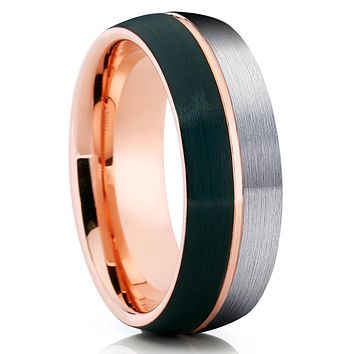 Gray Tungsten Wedding Band - Black Tungsten - Rose Gold Tungsten Ring