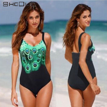 2017 Hot Lady Swimsuit Plus size One Piece Bathing Suit Peacock Print Straps Swimwear New Arrival Swimsuit