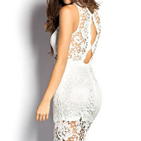 White Sheer Cut Out Crochet Lace Mini Dress in Sleeveless