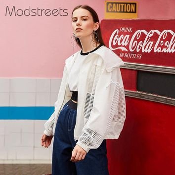 Ollow Out Women Basic Jacket Solid White Drawstring Transparent Zipper Casual Thin Slim Autumn Coat Bomber Jacket