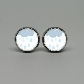 Silver Stud Post Earrings with Rainy Day
