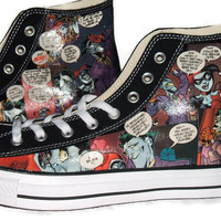 Harley Quinn and Joker Comic Book Shoes - Converse Chuck Taylor AllStar Converse Black High Top - Geekery Clothing Shoes Men