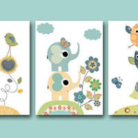 "Baby Boy Nursery Decor, Art for Children, Kids Wall Art, Baby Boy Room Decor, Nursery print set of 3 8"" x 10"" Print decoration flower owl"