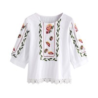 Women Lace Floral Flower Printed Blouse