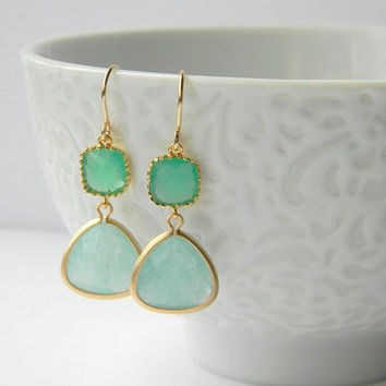 Gold Bridesmaid Earrings - Mint Jade Earrings - Palace Green Earrings - Gold Earrings - Color Block Earrings - Bohemian Earrings - Gift