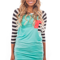 Mint Tunic with Striped Sleeves and Neon Coral Pocket