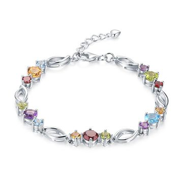 Spring Color 9.0ct Multicolored Gemstone Sterling Silver Colorful Day Bracelet
