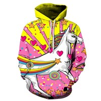 Pink Unicorn Hoodies - Men's Novelty Pullover Hooded Sweatshirts