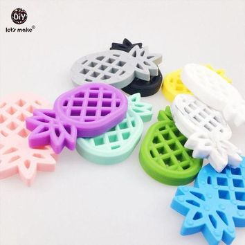 ac spbest Let's Make Baby Pendants 5pc Silicone Pineapple Silicone Teether BPA Free Diy Crafts Accessories Baby Pram Toy Teething Ananas