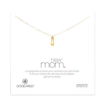 new mom safety pin necklace, gold dipped - Dogeared