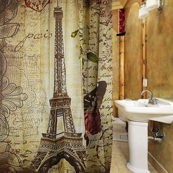 Paris Eiffel Tower Waterproof Polyester Bath Shower Curtain Retro Vintage Brown Butterfly Design Pattern with 12 Plastic Buckles