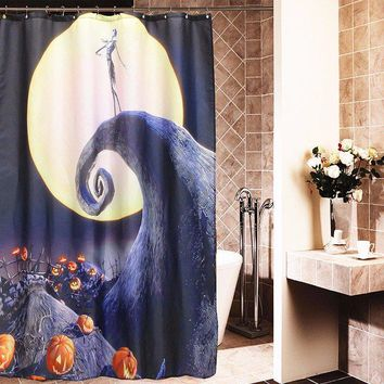 Halloween Nightmare Moon Skull Polyester Shower Curtain Bathroom Decor with 12 Hooks