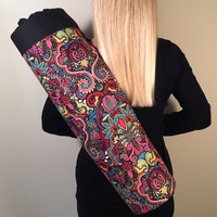 Handmade Yoga Mat Bag - READY TO SHIP - Yoga Tote, Yoga Mat Carrier, Yoga Bag,  Bright Multi Color