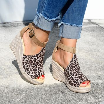 T-strap Cheetah Faux Suede Wedges