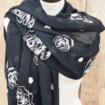Black Scarf Winter Accessory Stitched Off White Flowers Dots Wrap Scarf Cotton Scarf Soft Black Cowl Oversized Fashion Shawl Gift