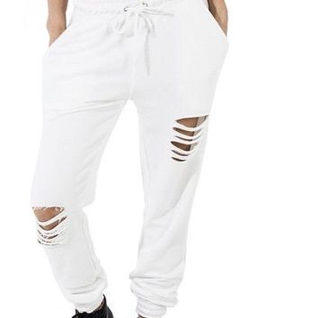 Ladies Distressed cutout joggers pants