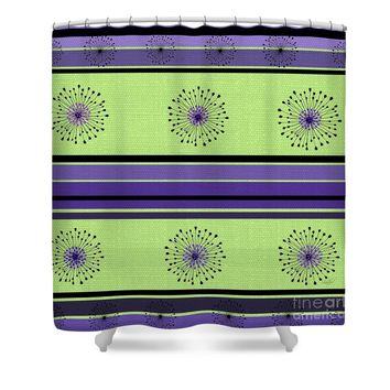 Lime Green and Purple Abstract Shower Curtain