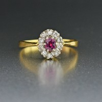 18K Gold Vintage Ruby Diamond Halo Engagement Ring