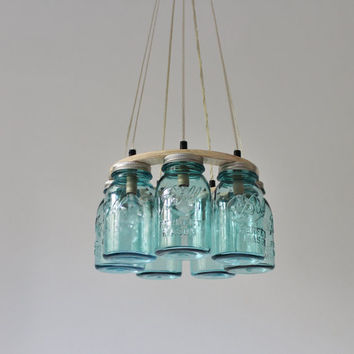 Mason Jar Chandelier Ring Lighting Fixture, 7 Antique Blue Quart Jars, Rustic Mason Jar Lighting, Bulbs Included