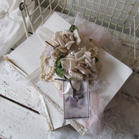 Book bundle large white painted books shabby cottage chic adorned w/ romantic vintage roses pearls dyed laces home decor anita spero design