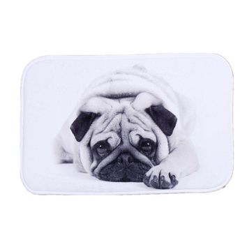 SunnyRain 1-Piece Cartoon Dog Coral Fleece Area Rug For Kitchen Bathroom Slip Resistant Absorbent Machine Washable 40x60cm