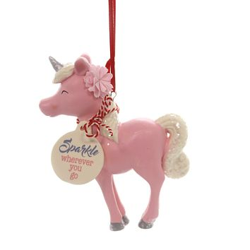 Holiday Ornaments UNICORN STANDING SNOWPINION Department 56 6002143 Pink