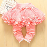Girls Autumn Fashion Cotton Leggings With Tutu Skirt Kids Pants Baby Leggings Baby Girl Pants