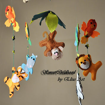 Baby crib, Baby mobile, Funny Jungle Animals, Safari Baby crib Decor